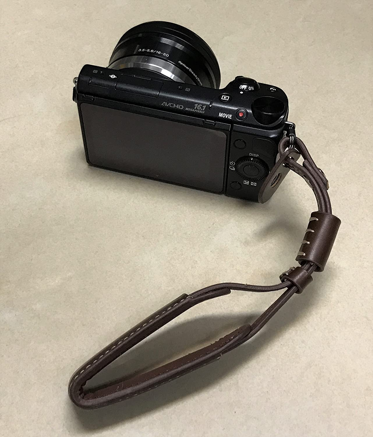 Gadget Place Dark Brown Classy Leather Wrist Strap for Olympus OM-D E-M10 Mark III
