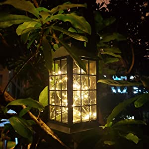 Solar Outdoor Lantern, Waterproof Hanging Solar Lantern with 30 LED Fairy Copper String Lights for Patio, Garden, Lawn, Pathway (Warm White)