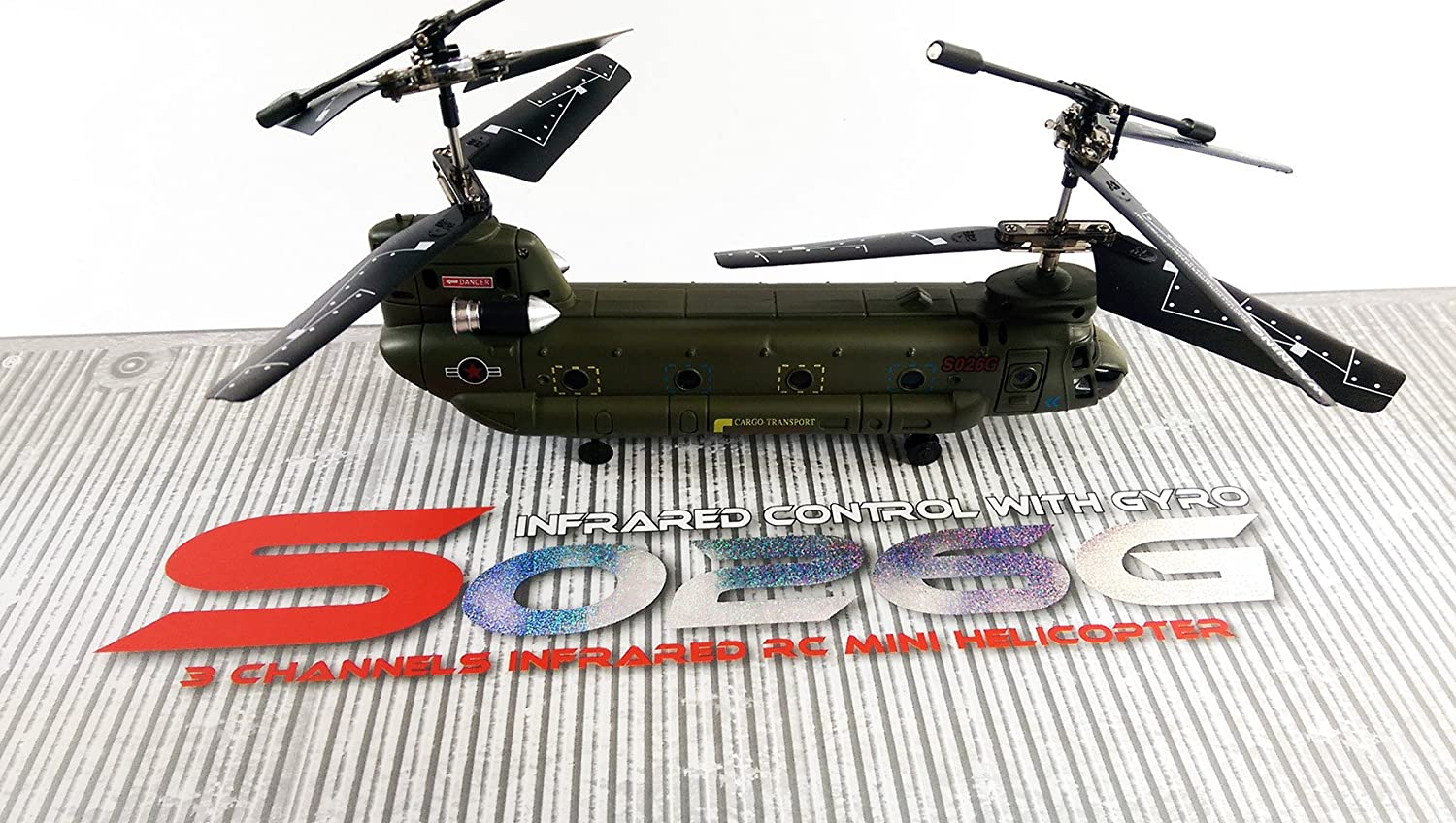 Syma S026G Rc Remote Control Army Military Cargo GYRO Helicopter 3 on