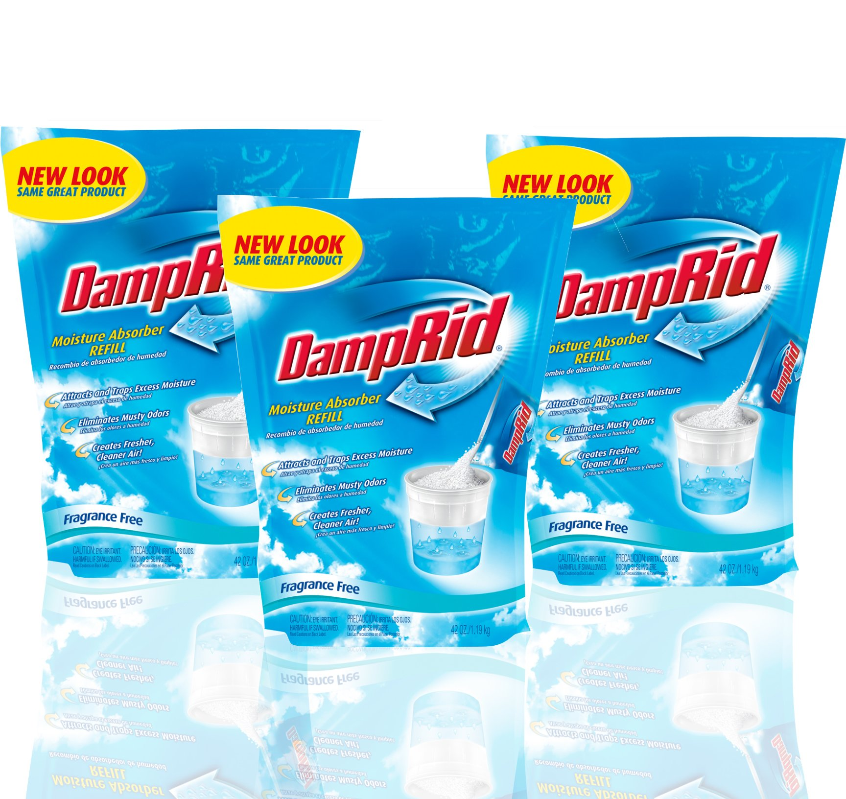 DampRid Moisture Absorber 42oz Refill Bag Fragrance Free (Pack of 3)