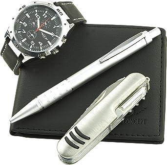 Montre Concept CCP-A765 - Estuche regalo para hombre (incluye reloj, navaja multiusos, cartera y bolígrafo), color negro: Amazon.es: Relojes