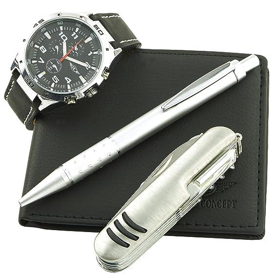 Coffret reloj hombre Ernest + cartera + bolígrafo + cuchillo regalo: Amazon.es: Relojes