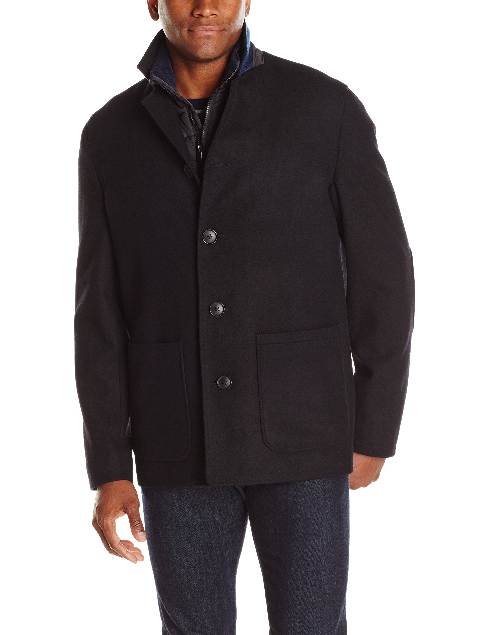 Nick Graham Men's Triboro 3 in 1 Wool Jacket with Vest, Black, X-Large