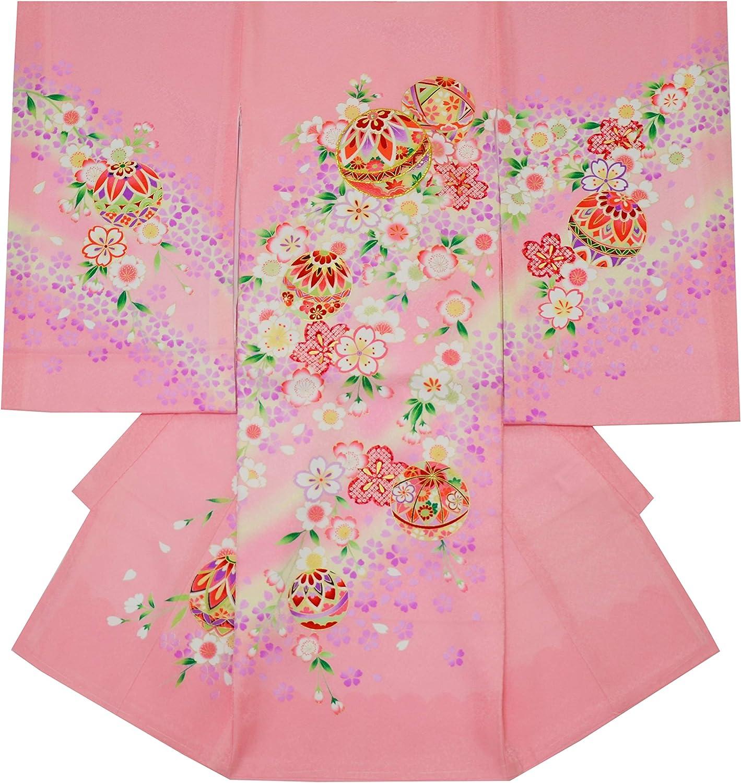 お宮参り 着物 女の子 初着 産着 正絹 毬 まり 桜 ピンク 女児 祝着 一つ身 着物タウン 3370-00832