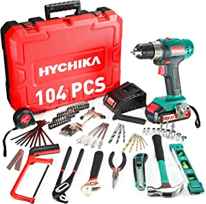 HYCHIKA 18V Home Tool Kit with Case, 104 PCS Cordless Drill Driver Tool kit with Battery&Charger for Garden Office Home Repair Maintain,Power Tools Combo Kit