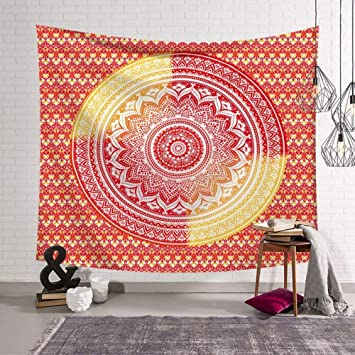 Tapisserie Tenture Boussole Mandala Indien Motif Fleurs Art