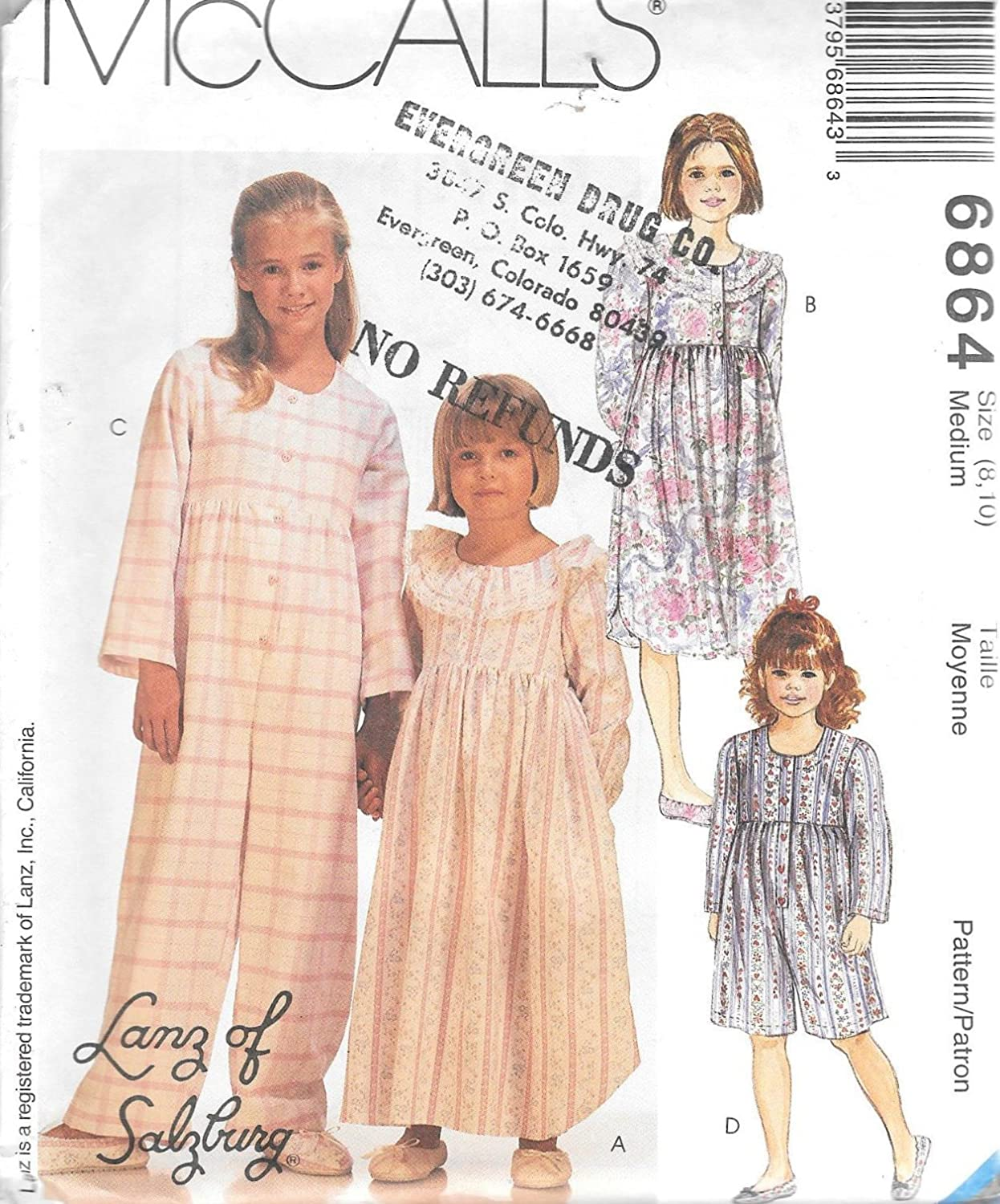 d49e387760 Mccalls lanz of salzburg girls nightgown jumpsuit and slippers sewing  pattern size medium industrial scientific jpg