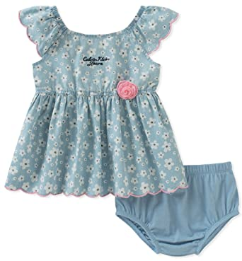 9eeae5889 Amazon.com: Calvin Klein Baby Girls 2 Pieces Denim Dress with Panty-Belted:  Clothing