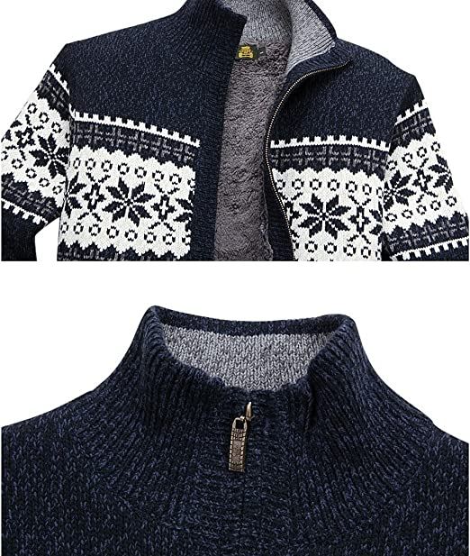 Men S Winter Knitted Cardigan Casual Thick Snowflake Pattern Sweater At Amazon Men S Clothing Store