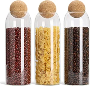 ComSaf Glass Food Storage Canister with Airtight Cork Lid (42oz/1240ml), Clear Food Storage Jar Container with Seal Cork Round Stopper for Kitchen Pantry Serving Tea Coffee Sugar Flour Spices