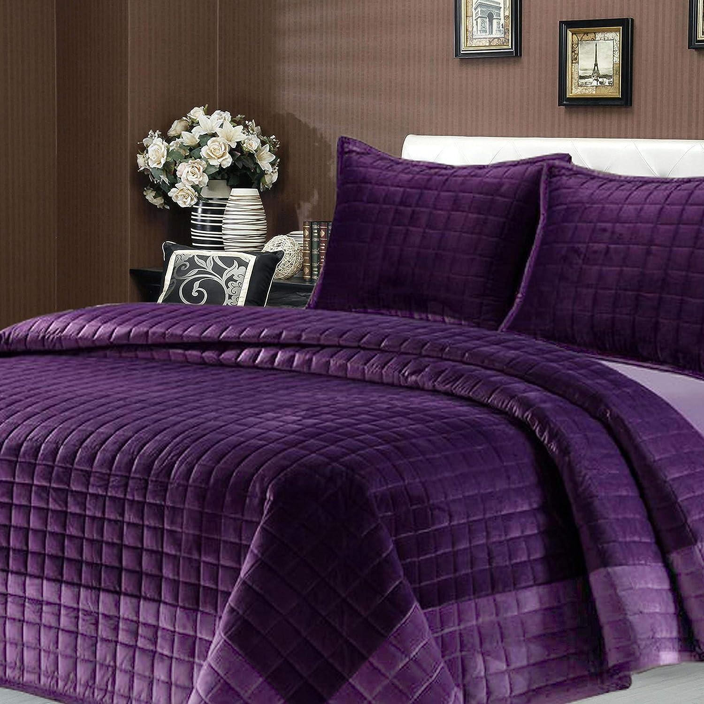 New Season Home Velvet Quilt Set, Purple