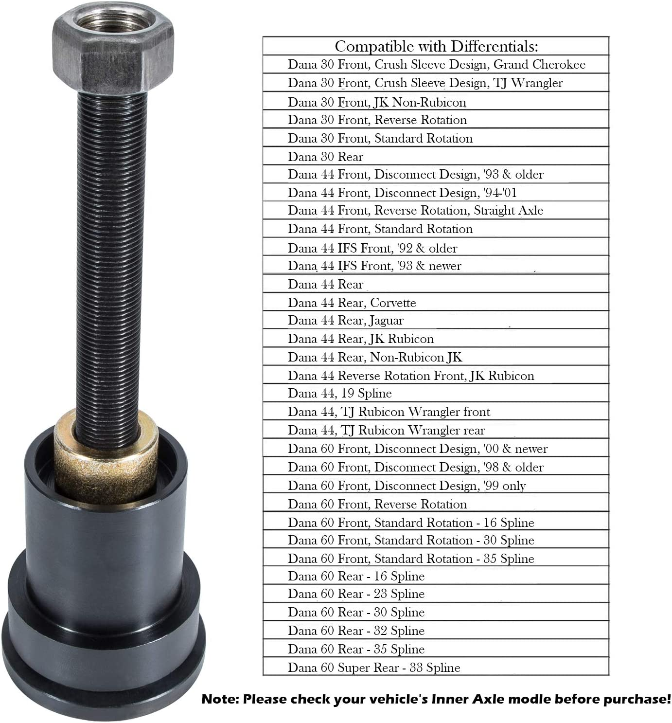 Dana 44 /& Dana 60 Axles Front Differentials Inner Axle Side Seal Installation Tool for Dana 30