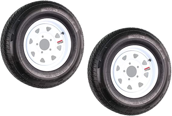 5 on 4-1//2 Load Range C 6PLY Weize ST175//80D13 175 80D13 Trailer Tires With 13 White Wheel Set Of 2