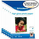 """Printworks High Gloss Photo Paper for Inkjet Printers, 8.5 mil, (6 pack bundle) 90 Sheets, 8.5"""" x 11"""" (00547C)"""