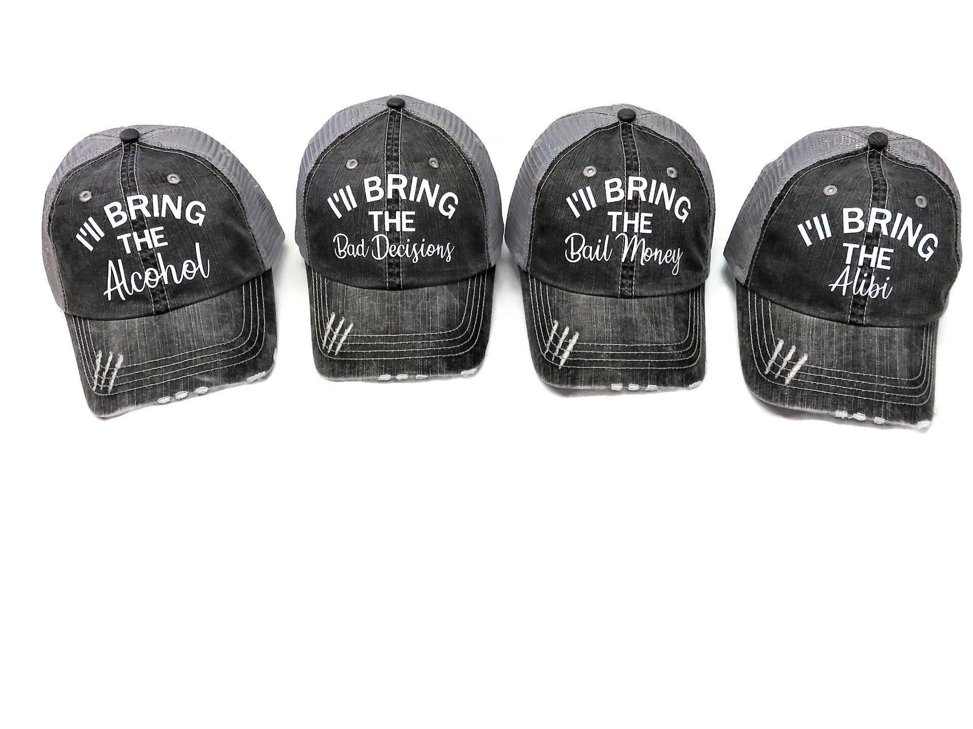 Spirit Caps Set of 4 Glitter I'll Bring The Alcohol Bail Money Bad Decisions Alibi Grey Trucker Cap by Spirit Caps