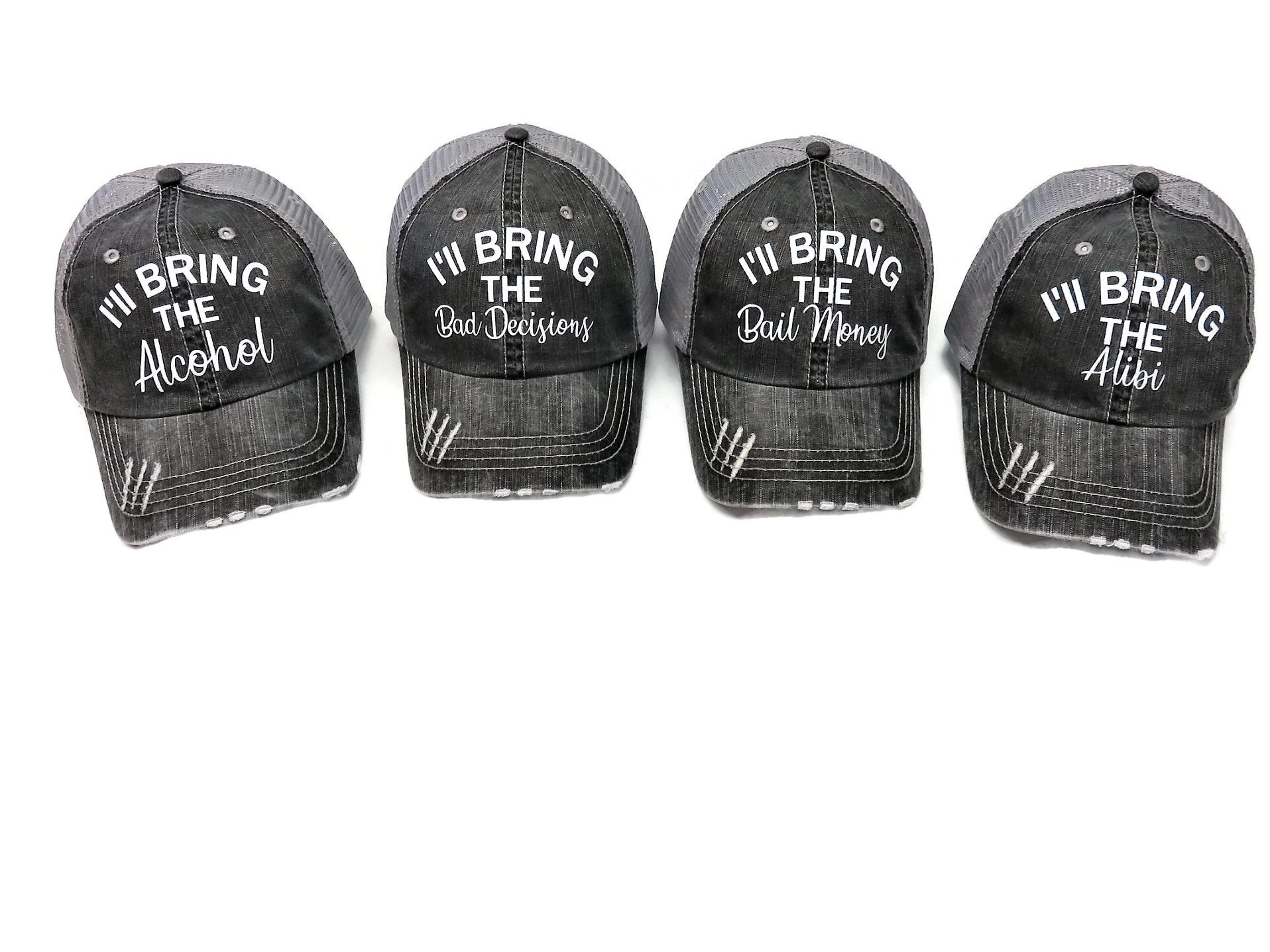 Spirit Caps Set of 4 Glitter I'll Bring The Alcohol Bail Money Bad Decisions Alibi Grey Trucker Cap by Spirit Caps (Image #1)