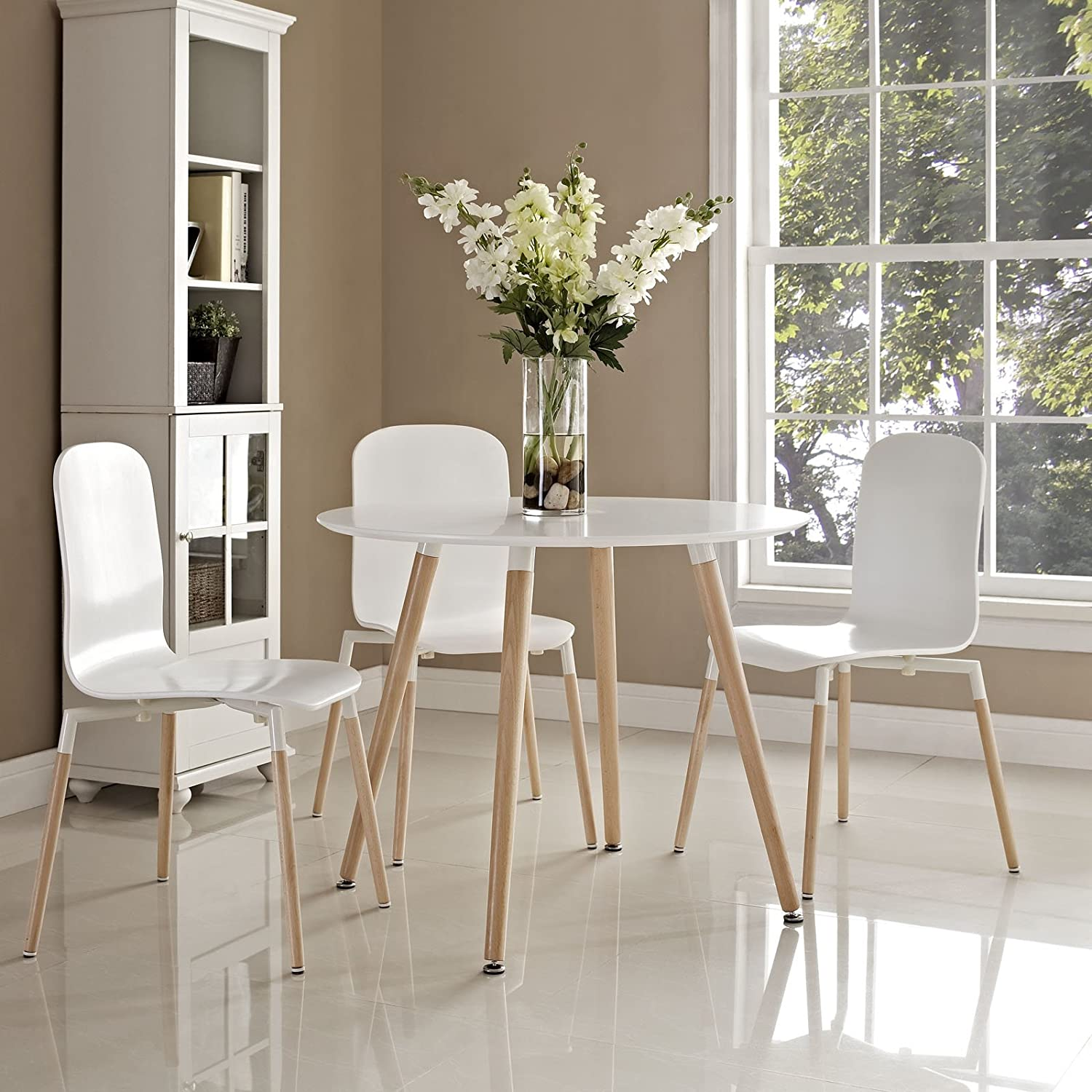 Amazon Modway Track Circular Dining Table in White Tables