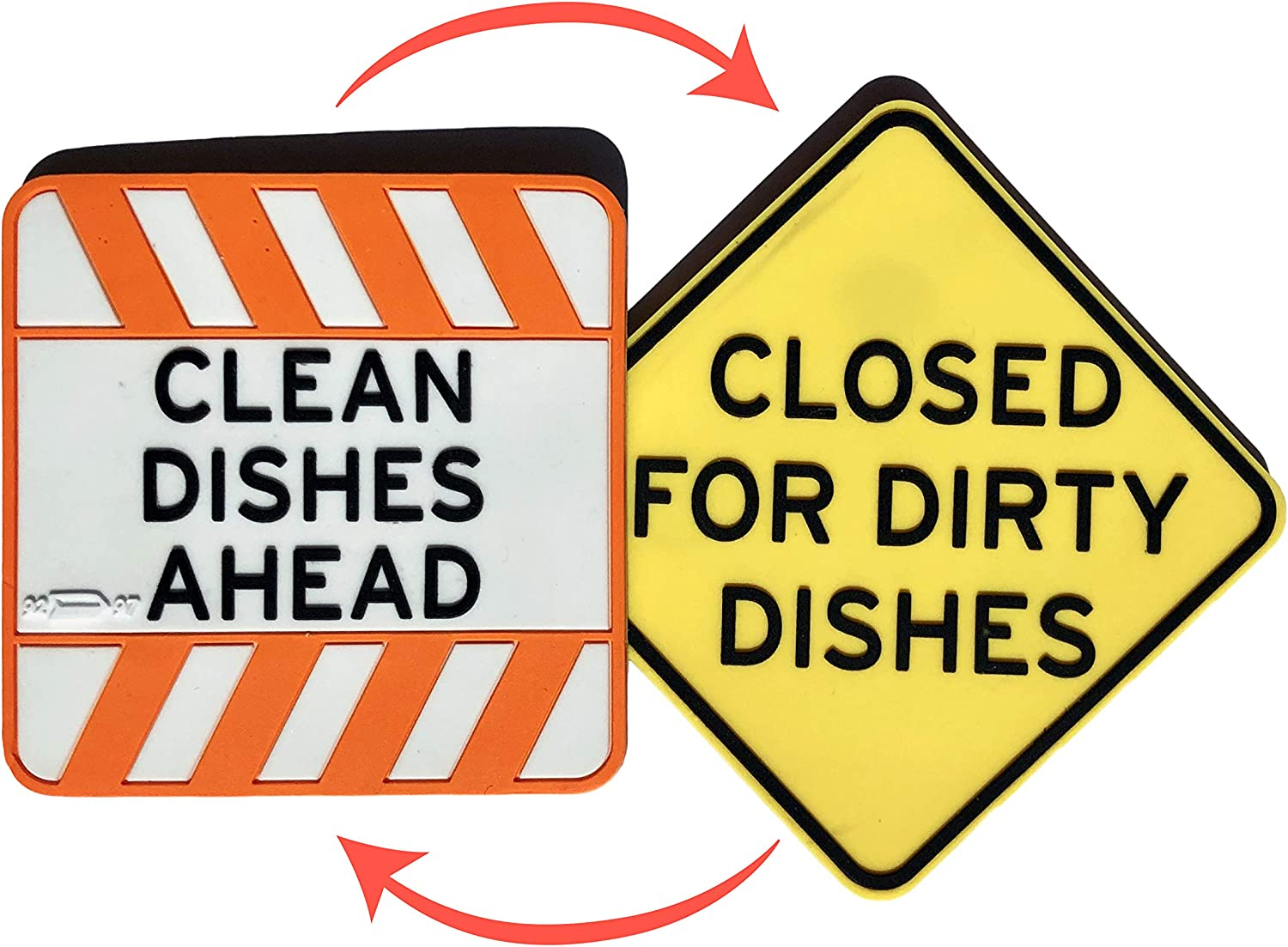 Road Work Inspired Clean Dirty Premium Dishwasher Magnet Sign, Double Sided Flip Indicator, Strong Surface Safe Magnet, Soft Kitchen Dish Magnet