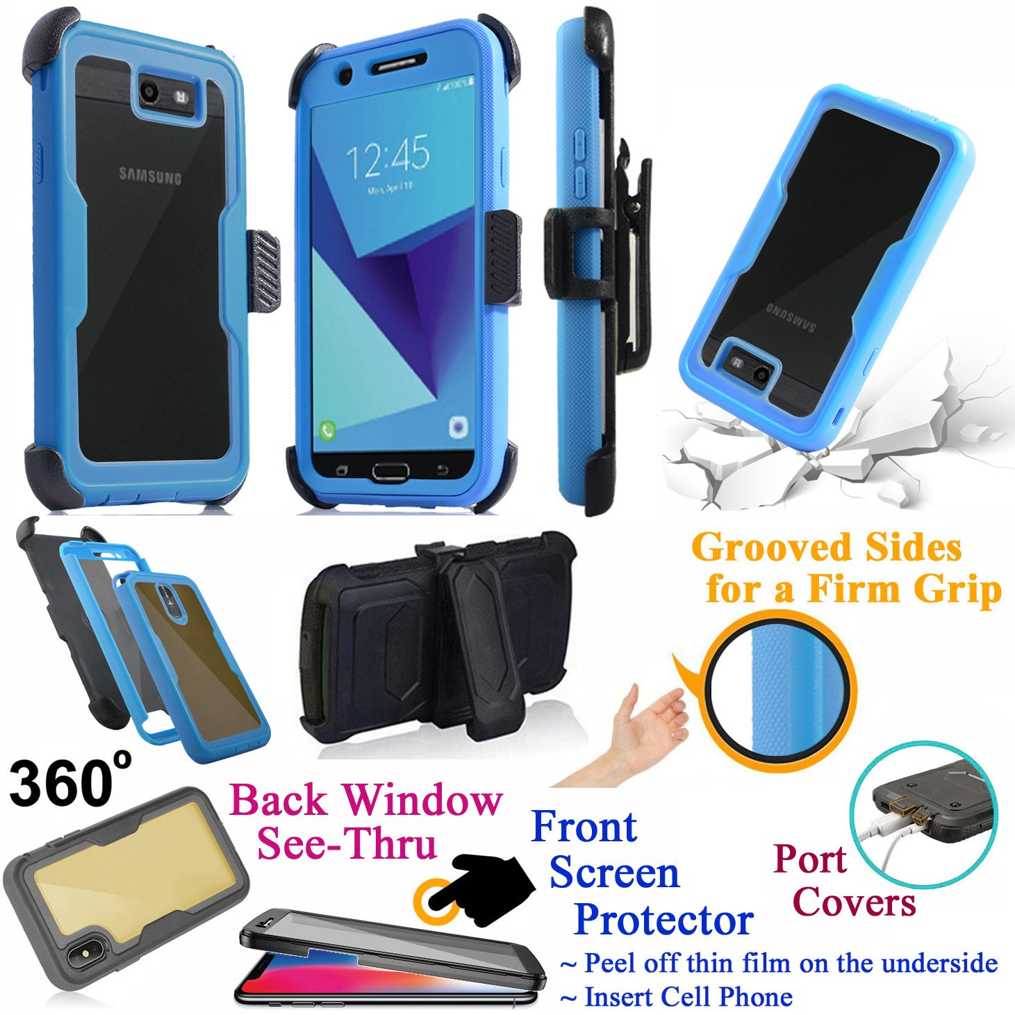 for 5.5'' Samsung J7 2017 SKY PRO Perx HALO J7 V Case Phone Case 360° Cover Screen Protector Back Window Holster Kick stand Armor Shock Bumper (Blue)