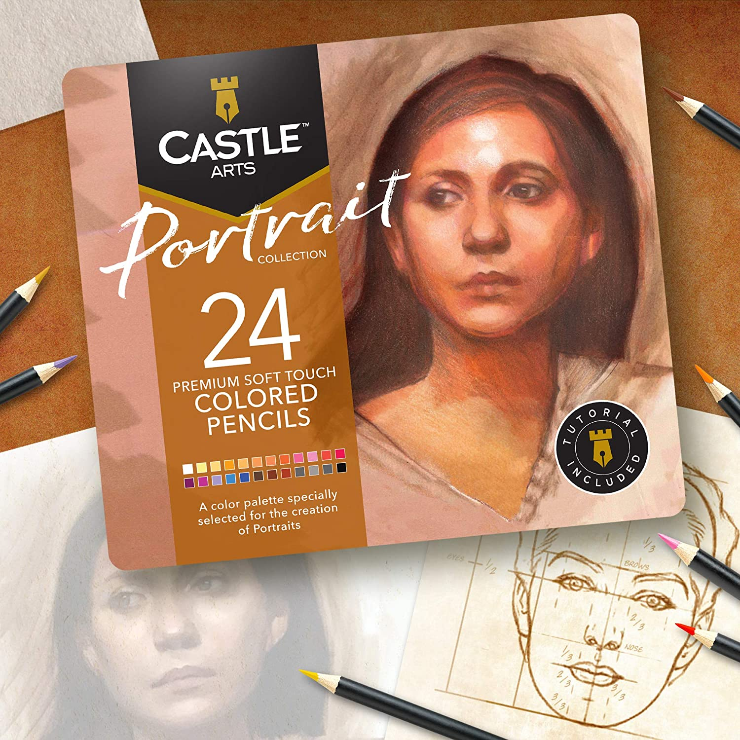 Featuring Castle Arts Themed 24 Colored Pencil Set in Tin Box smooth colored cores perfect /'Van Gogh/' inspired colors superior blending /& layering performance for great results