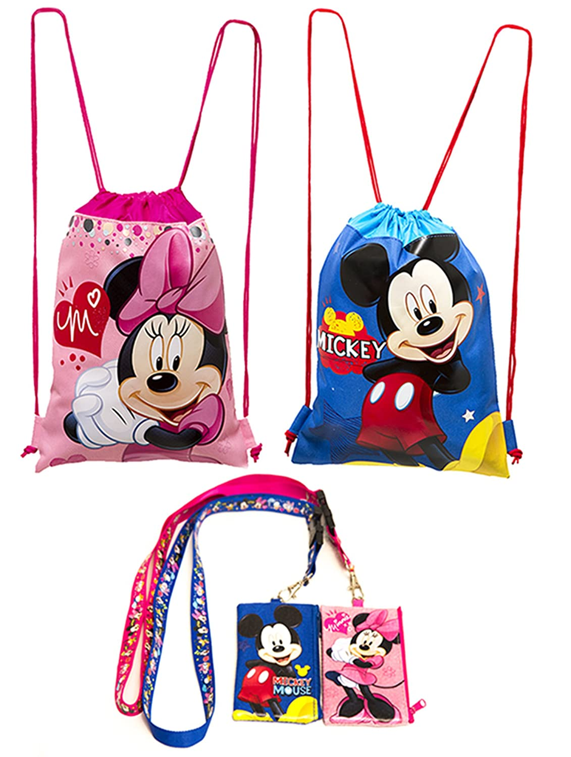 (4ct) Mickey & Minnie Mouse Drawstring Backpack - Lanyards with Detachable Coin Purse Disney