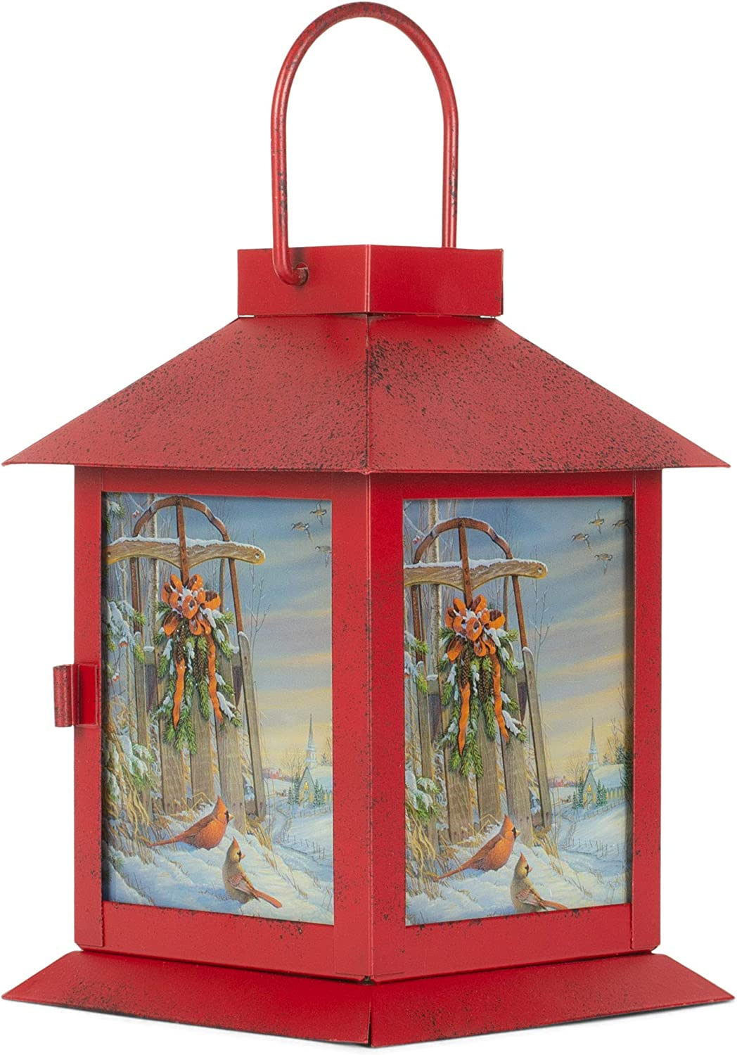 Mark Feldstein All Aboard for Christmas LED Light Up Copper Colored 4 x 6 Inch Metal Coach Lantern