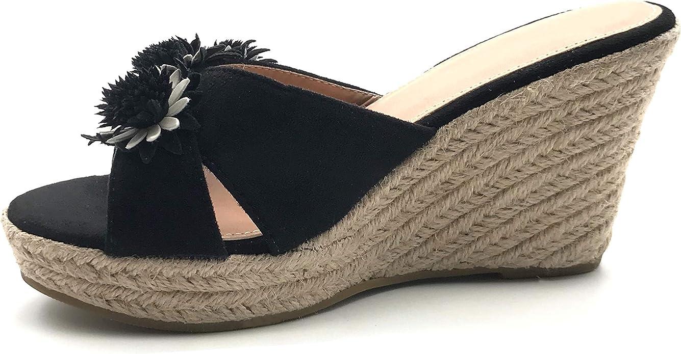 Angkorly Chaussure Mode Sandale Escarpin FolkEthnique Bohème Claquette Femme Fleurs tressé avec de la Paille Talon compensé Plateforme 10 CM