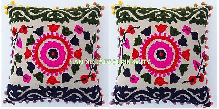 Handicraftofpinkcity 2 piece 16x16\'\' Indian Handmade Cotton Cushion ...