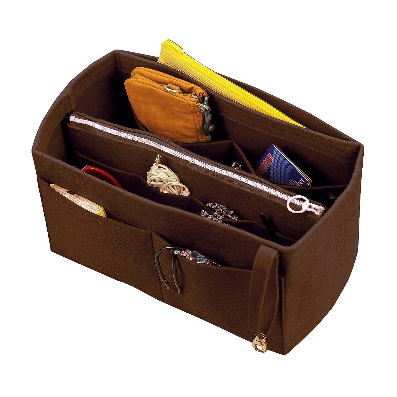 [Si adatta a Neverfull MM / Speedy 30, Marrone scuro] Organizzatore di feltro (con borsa a cerniera centrale rimovibile), borsa in borsa, inserto di borsa di lana, borsa tote personalizzata, borsa per pannolini di trucco cosmetica