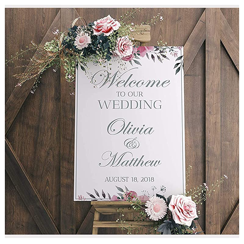 amazon com wedding reception sign white wedding banner welcome to our wedding wedding party banner wedding party signs custom wedding sign handmade party supply poster print size 24x18 36x24 and 48x36 handmade wedding reception sign white wedding banner welcome to our wedding wedding party banner wedding party signs custom wedding sign handmade party