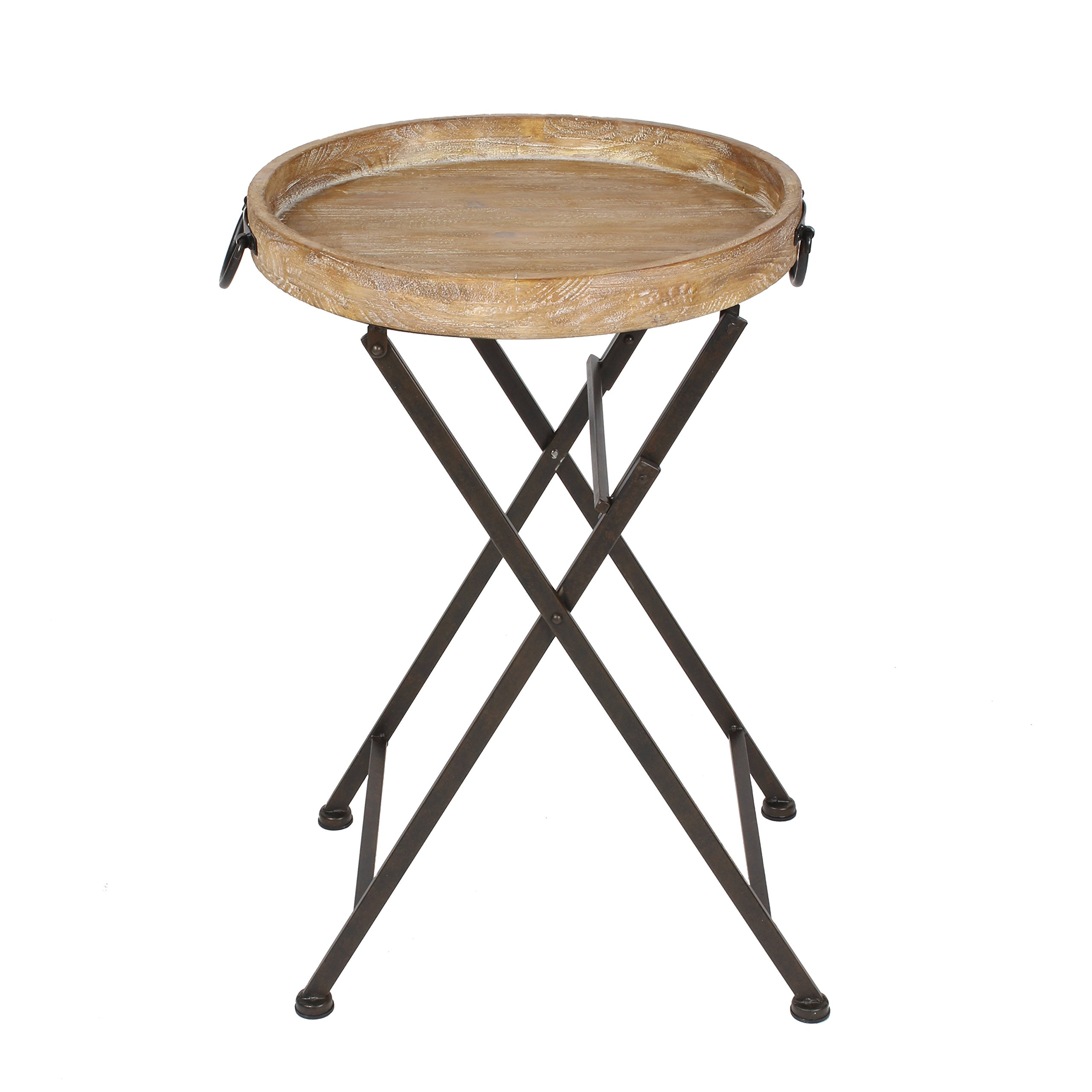 Kate and Laurel Marmora Round Metal and Wood Tray Table, 28''