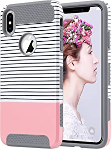 ULAK iPhone Xs Max Case, Slim Shockproof Protective Phone Case for Women, Hybrid Scratch Resistant Hard Shell TPU Bumper Back Cover Designed for iPhone Xs Max, Rose Gold Minimal