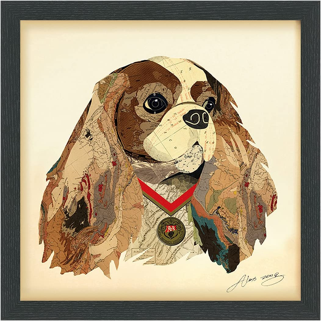 Empire Art Direct King Charles Spaniel Dimensional Collage Handmade by Alex Zeng Framed Graphic Dog Wall Art, 17 x 17 x 1.4 , Ready to Hang,