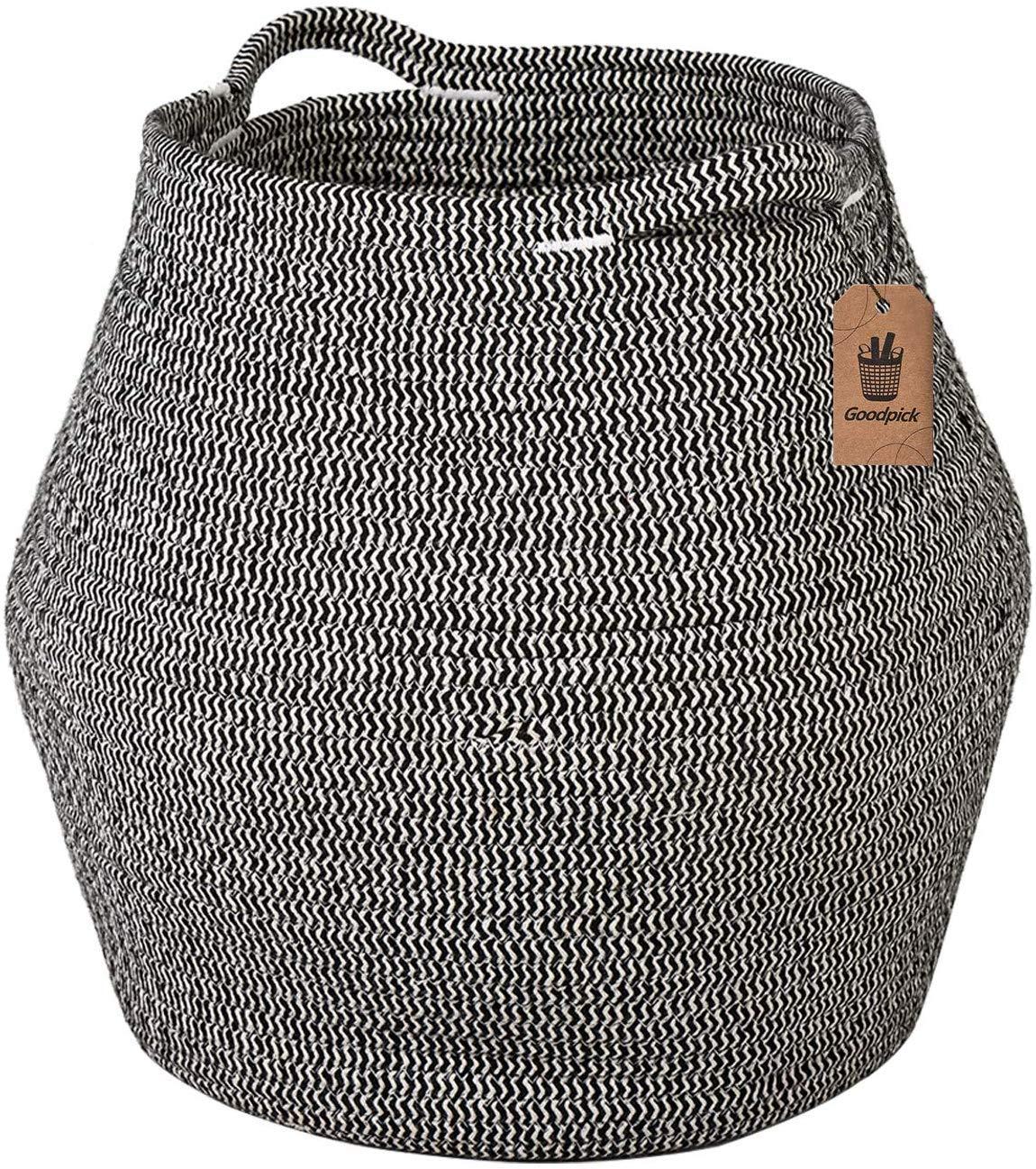 Goodpick Cotton Rope Storage Basket Woven Baby Laundry Basket for Storage, Plant Pot, Beach Bag, and Kids' Toys Home Decor Blanket Basket Planter Basket,16.1'' × 14.9 ''× 11.8''
