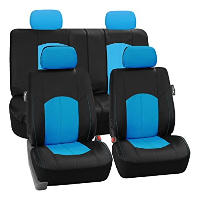 FH Group PU008114 Highest Grade Faux Leather Seat Covers (Blue) Full Set – Universal Fit for Cars Trucks & SUVs: Automotive