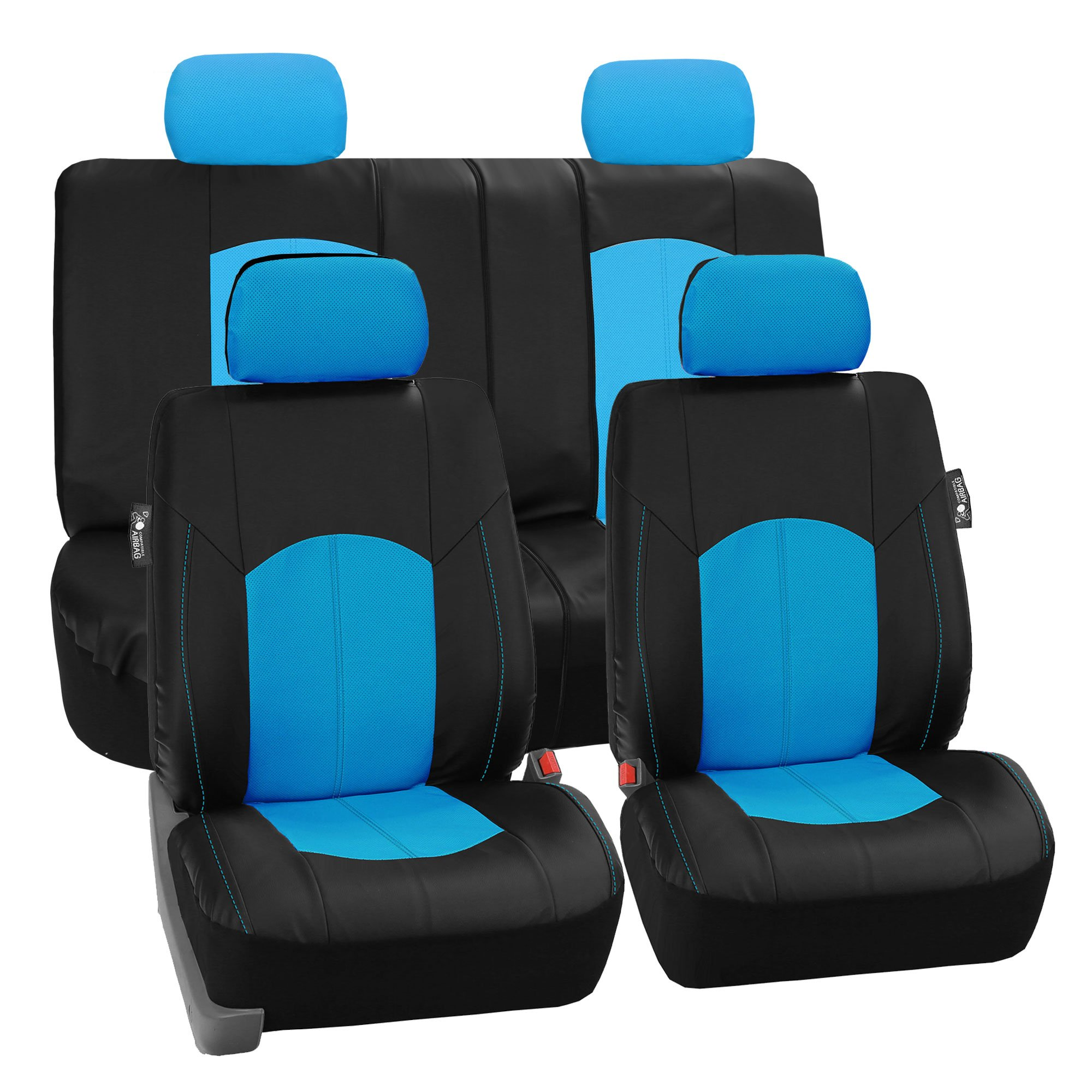 LIMITED TIME ONLY 30% OFF: FH GROUP FH-PU008114 Perforated Leatherette Full Set Car Seat Covers, (Airbag & Split Ready), Blue / Black Color- Fit Most Car, Truck, Suv, or Van
