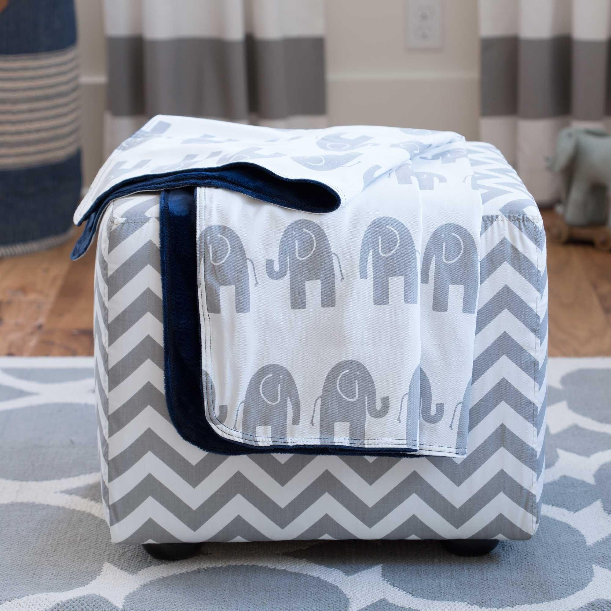 Carousel Designs Navy and Gray Elephants Crib Blanket