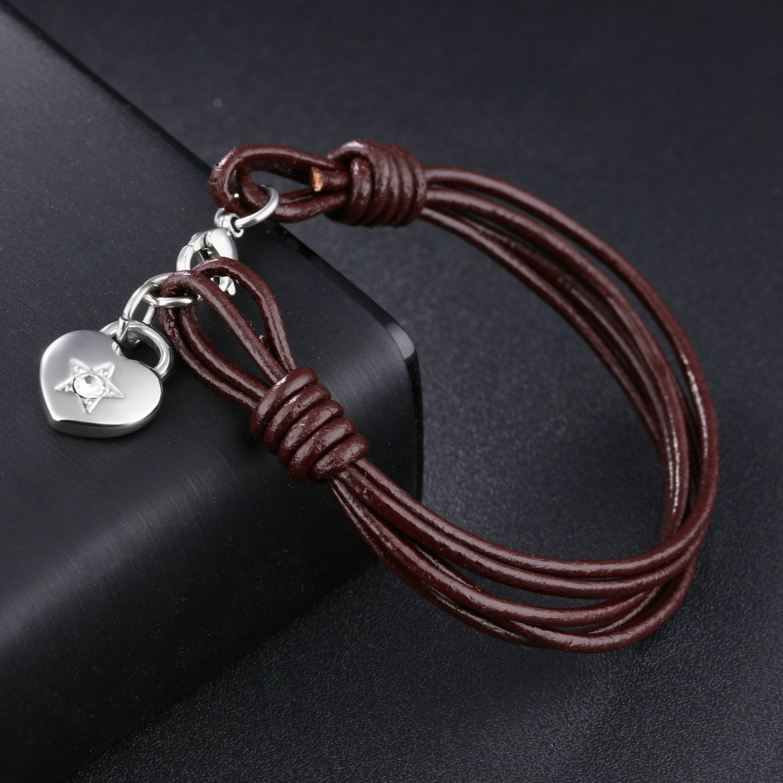 LOHOME Unisex Fashion Bracelets Brown More Leather Chain Heart Charm Bracelet for Men//Women