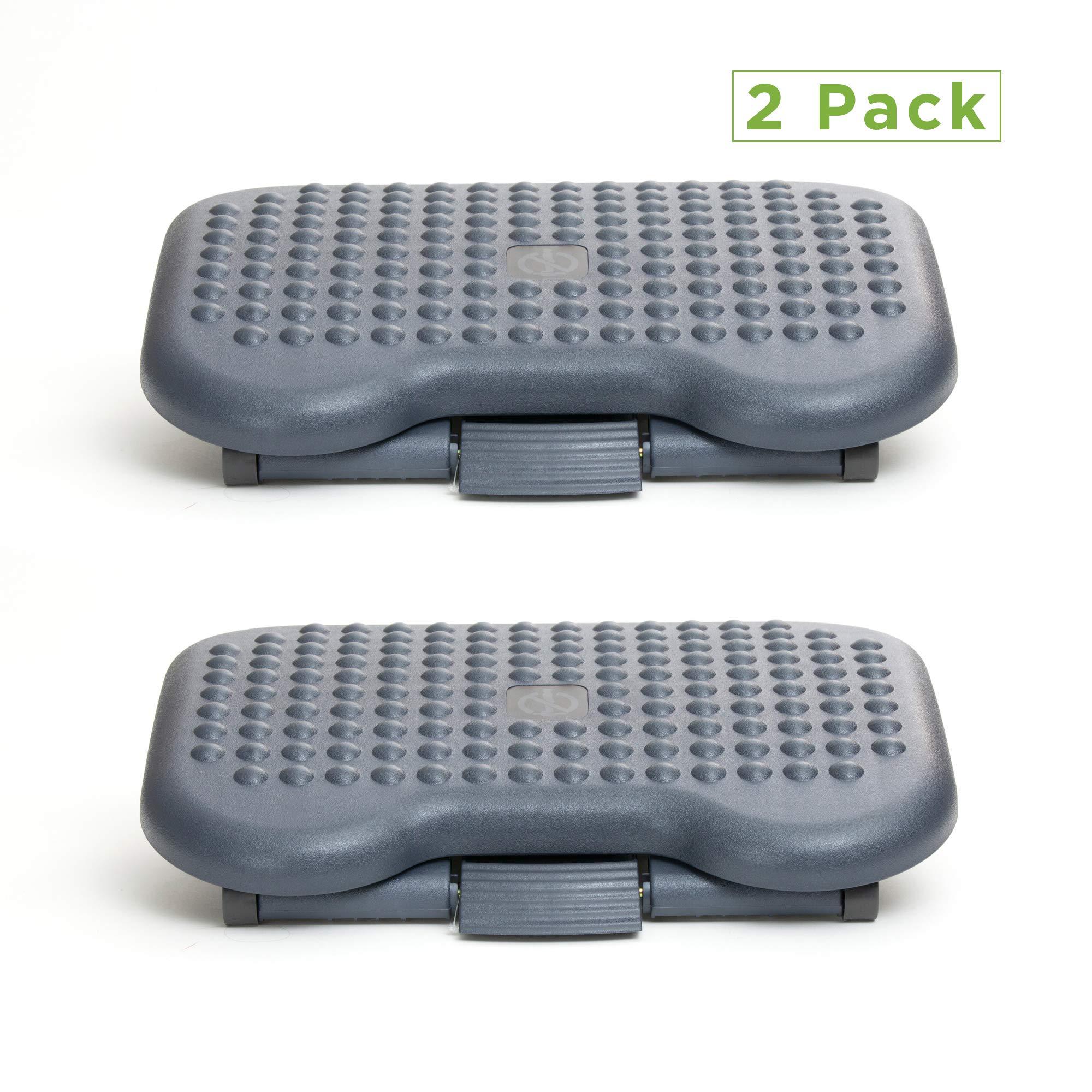 Mind Reader 2FTREST-BLK 2 Pack Adjustable Height Ergonomic Foot Rest, Black by Mind Reader