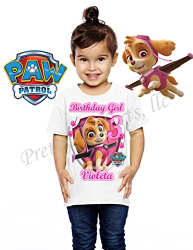 FREE SHIPPING Girl Paw Patrol Birthday Shirt Add ANY Name Age Skye FAMILY Everest Chase Marshall