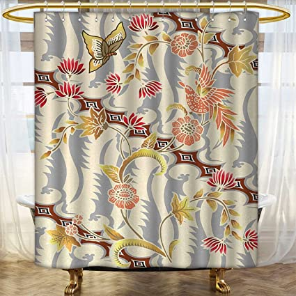 Anhounine Batik Shower Curtain Collection By Japanese Garden Inspired Swirling Spring Flowers Design In Soft Colors