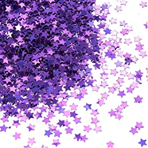 Star Confetti - Metallic Glitter Foil Confetti Star Sequins - Ideal for Balloons, Tables, Art Crafts, Wedding Festival Decor, Bachelorette Party Supplies, DIY Decorations - Purple, 0.1 Inches, 7-Ounce