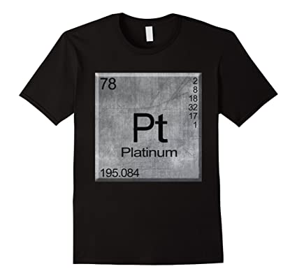 Mens Platinum Chemical Element Pt Symbol T Shirt Graphic Tee Small