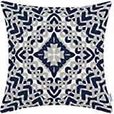 CaliTime Cushion Cover Throw Pillow Shell 18 X 18 Inches, Modern Geometric Compass, Navy Blue/Grey