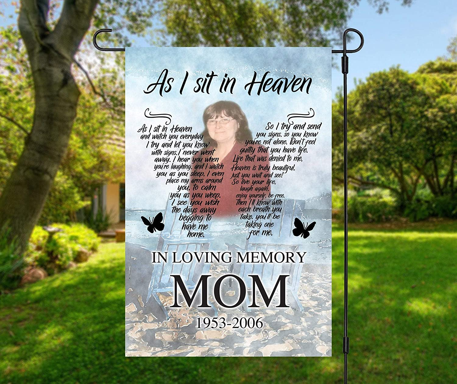 """Personalized Photo Memorial Garden Flag, Any Message Single Sided, in Loving Memory Cemetery Grave Flag Decor, 12""""x18"""" in Size"""