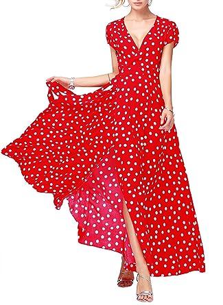3e1a8d62db7 Floryday Women s Viscose Polka Dot Short Sleeve Maxi Elegant Dress