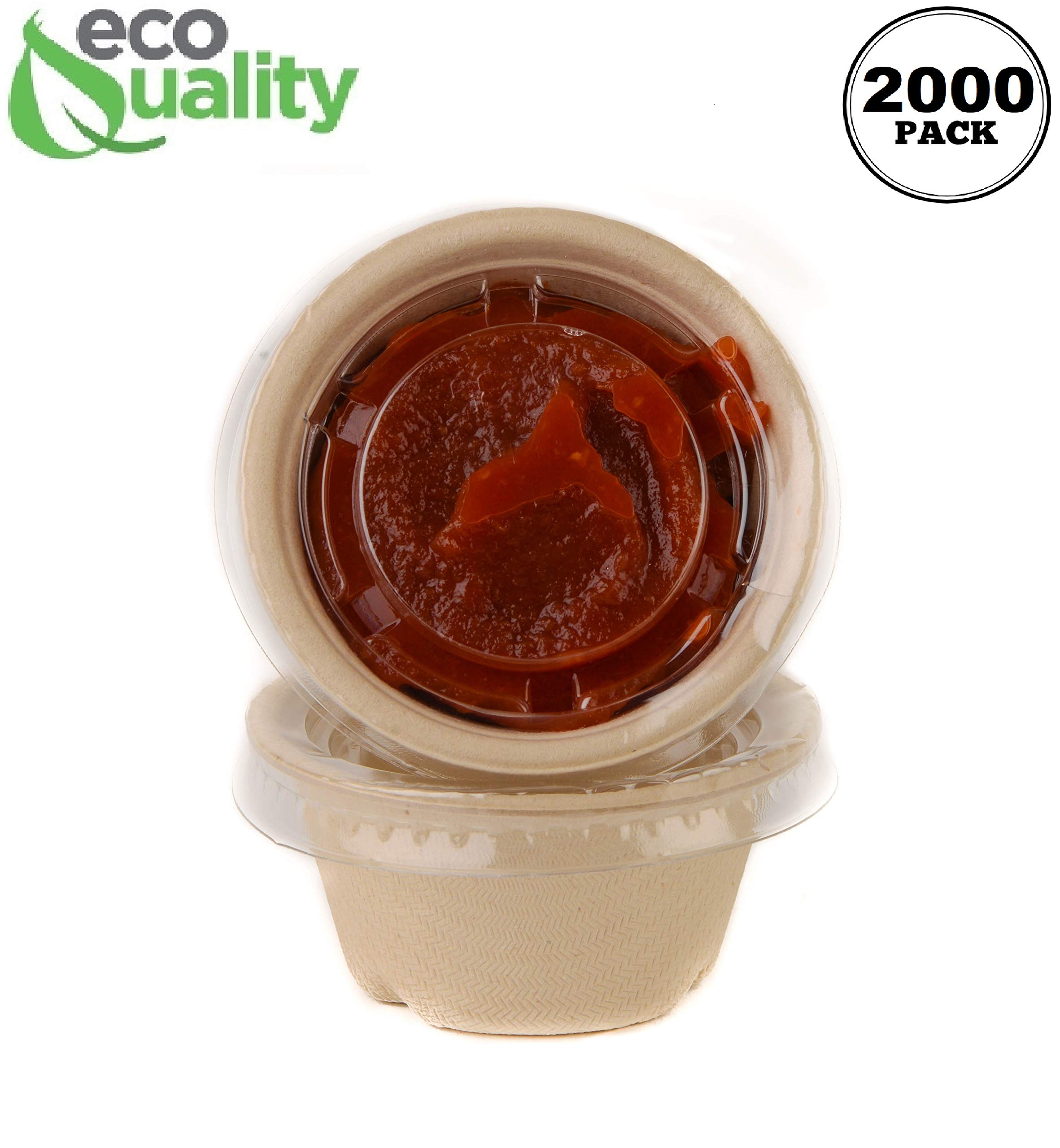 [2000 Pack] 2 Oz Compostable Condiment Souffle Bagasse Cups with Lids - Portion Cup with Lid Sugarcane, Biodegradable Perfect for Sauces, Samples, Condiments, Slime, Jello Shot, Food Storage