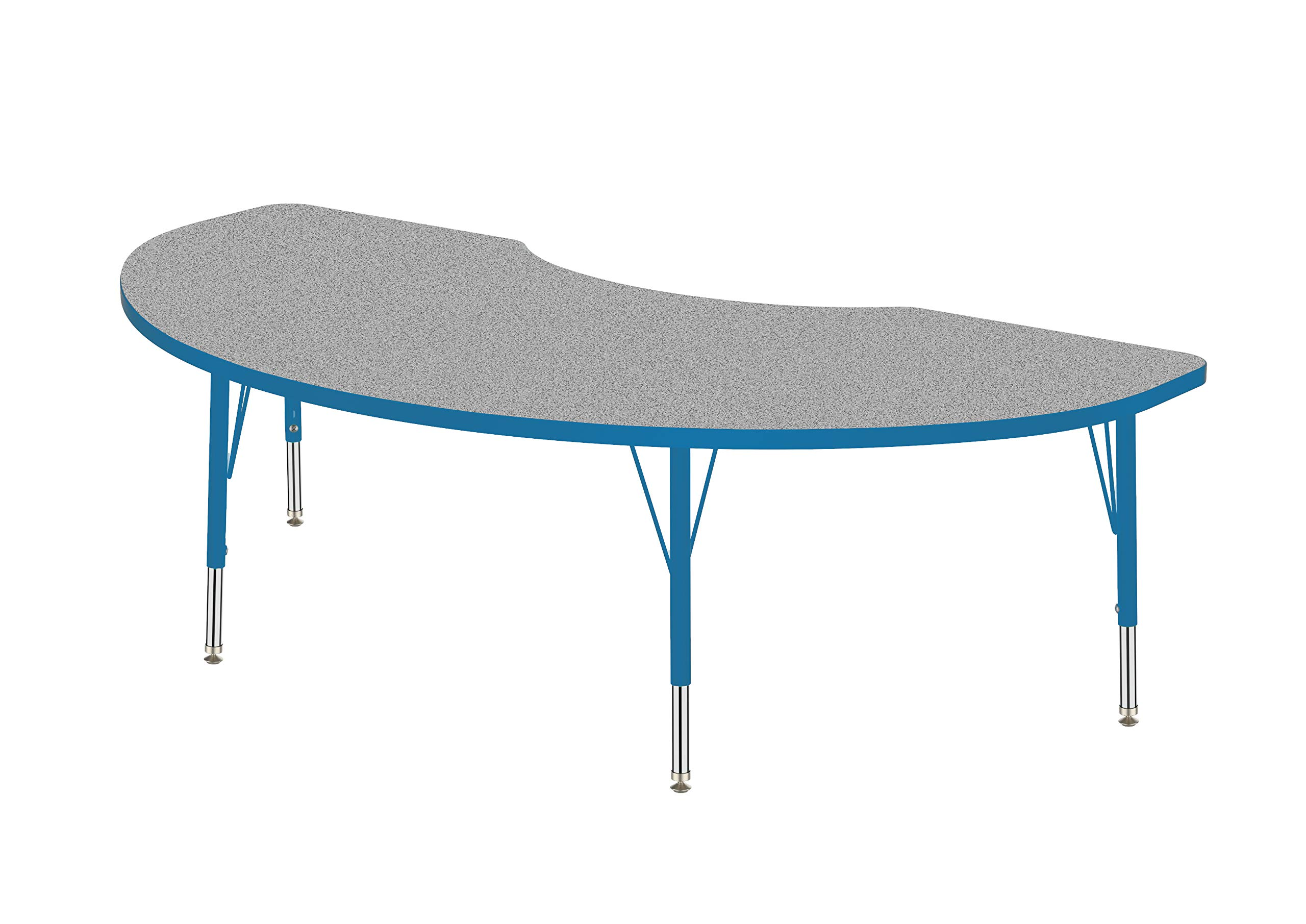 Marco Group AMG2267-F4-ABLU 36'' x 72'' Kidney Shaped Adjustable Height Activity Table (16''-24'') Toddler Size Legs Gray Nebula-Top, Blue-Edge