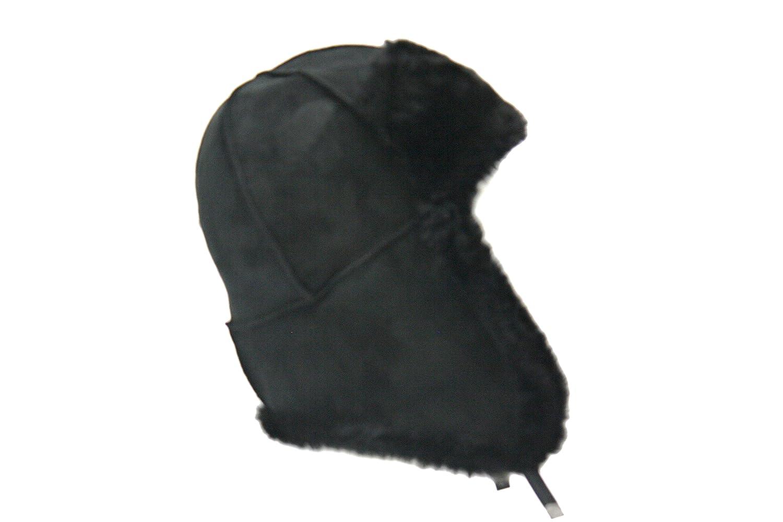Lammfell Piloten Mütze Russen Mütze schwarz mit schwarzen Fell Lammfellmütze aus Spanischen Merino Schaffellen, Maßangaben siehe Produktbeschreibung S18201