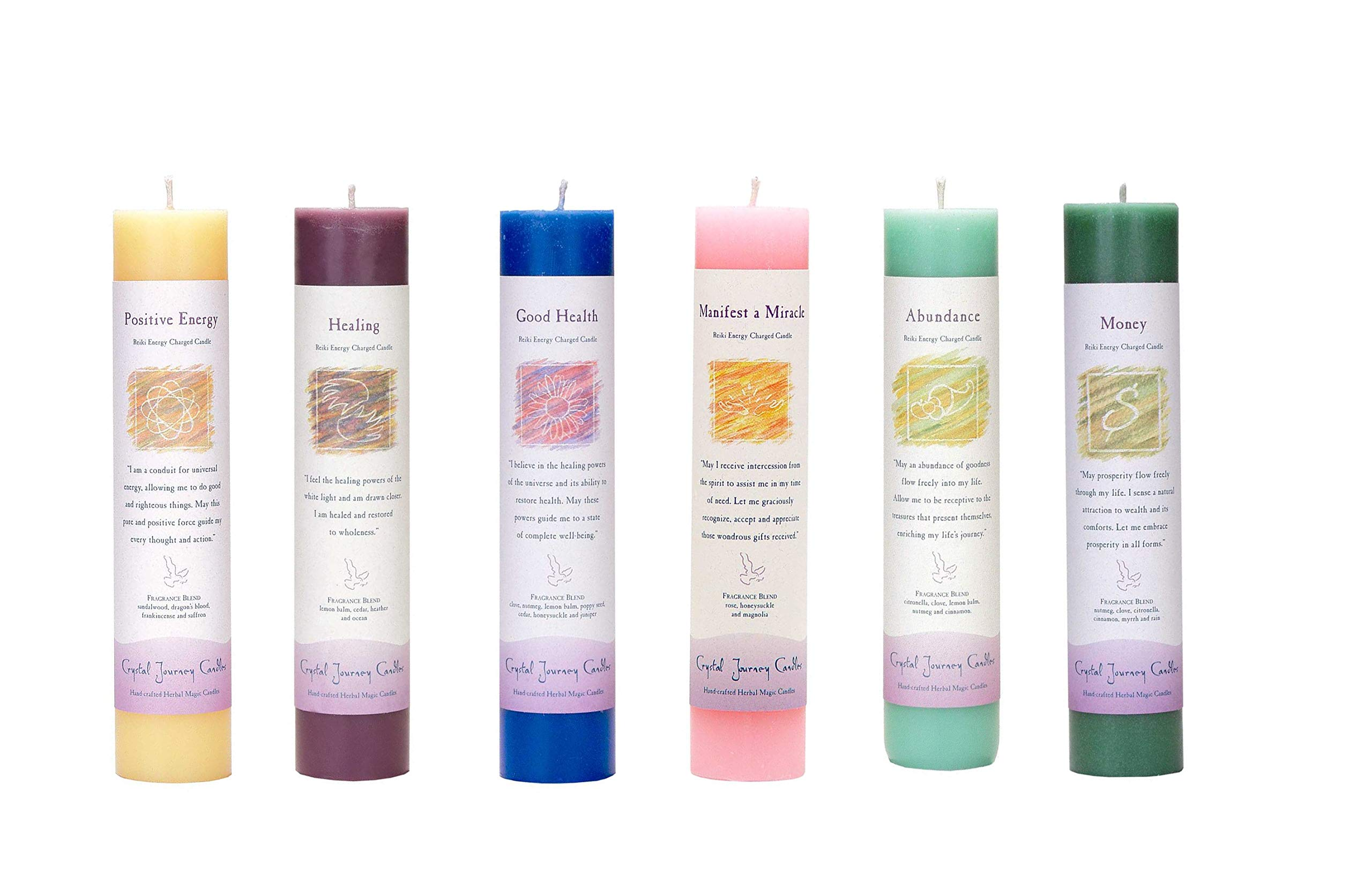 Crystal Journey Reiki Charged Herbal Magic Pillar Candle with Inspirational Labels - 6 Pack (Positive Energy, Healing, Good Health, Manifest a Miracle, Abundance, Money) Each 7''x1.5'' Handcrafted by Crystal Journey